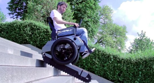 The stairclimbing wheelchair in action (Pic: YouTube)