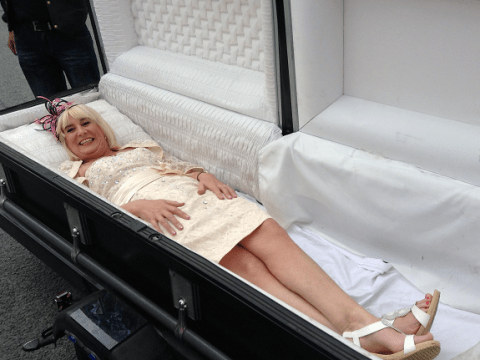 Meet the bride who turned up to her wedding in a closed coffin