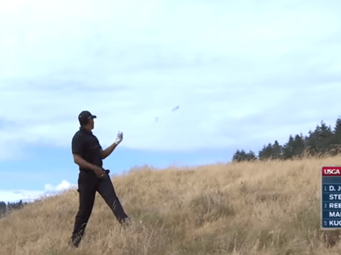 Tiger Woods' struggles on the golf course perfectly summed up when club flies out of his hand during disastrous first round at US Open
