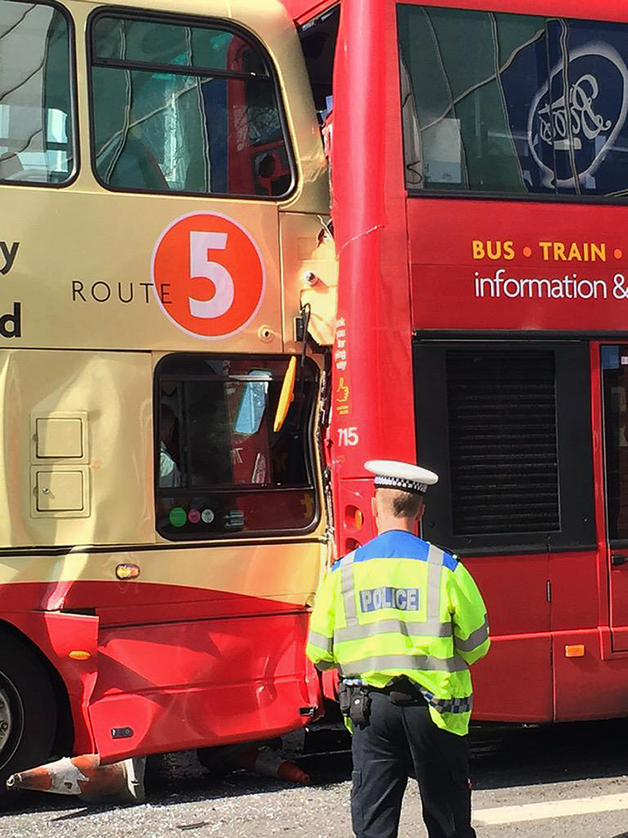 "BEST QUALITY AVAILABLE  Photo taken with permission from the Twitter feed of @CreativeChris1 of the scene in Brighton after two buses crashed in the city centre. PRESS ASSOCIATION Photo. Issue date: Monday July 6, 2015. Initial reports suggest there are ""multiple injuries"" following the collision in the centre of Brighton, East Sussex, at 9.22am. See PA story POLICE Buses. Photo credit should read: Christopher Pope/PA Wire NOTE TO EDITORS: This handout photo may only be used in for editorial reporting purposes for the contemporaneous illustration of events, things or the people in the image or facts mentioned in the caption. Reuse of the picture may require further permission from the copyright holder."