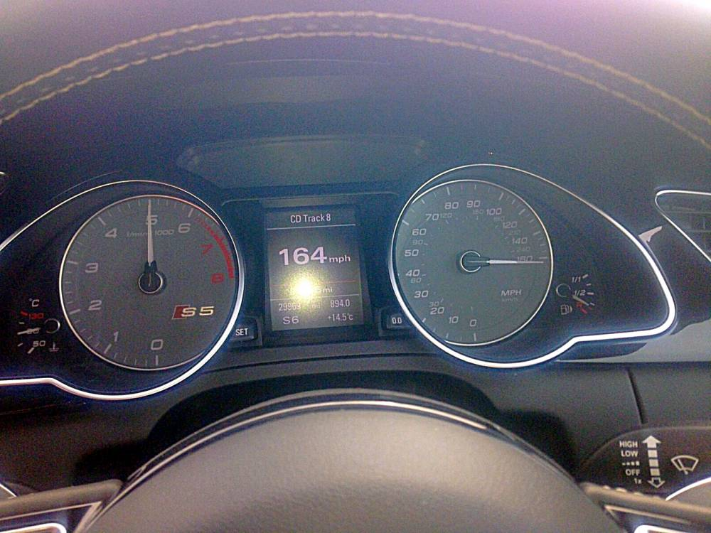 The photos that Jamie Syndercombe posted on his Facebook page claiming his Audi S5 had hit 164mph on the A1. See SWNS story SWSPEED: Police are investigating a motorist who boasted about doing 164mph and posted a photo of the speedo online. Semi-pro boxing promoter and trainer Jamie Syndercombe, 29, allegedly did more than TWICE the legal limit in a powerful Audi S5. Syndercombe took a snap of his dashboard showing the breakneck speed and put it on Twitter and also made it his Facebook profile picture. He boasted of reaching the speed as he drove home from a fight in Leeds and said he had been forced to slow down because of other cars in his way.