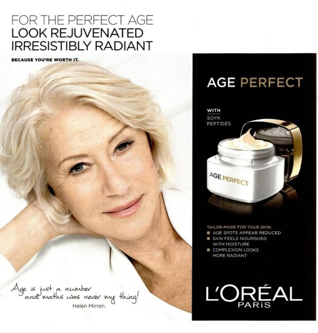 Embargoed to 0001 Wednesday July 8 BEST QUALITY AVAILABLE Undated handout photo issued by the Advertising Standards Authority (ASA) of an advert for L'Oreal moisturiser featuring the actress Dame Helen Mirren as it has been cleared following a complaint that claimed post-production editing had enhanced her appearance. PRESS ASSOCIATION Photo. Issue date: Wednesday July 8, 2015. The ASA received a complaint from a viewer who believed that post-production techniques had been used to alter Dame Helen's appearance, specifically with regards to the lines around her mouth - and who believed that ads misleadingly exaggerated the likely effect that could be achieved by consumers. See PA story CONSUMER Mirren. Photo credit should read: L'Oreal/PA Wire NOTE TO EDITORS: This handout photo may only be used in for editorial reporting purposes for the contemporaneous illustration of events, things or the people in the image or facts mentioned in the caption. Reuse of the picture may require further permission from the copyright holder.