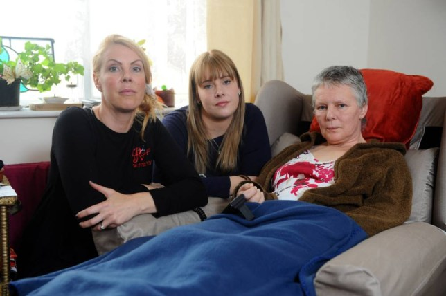 Jackie Baker,59, who suffers from Motor neuron disease. Jackie's daughters Tara Oreilly and her sister Rose Baker are holding a fundraising evening so that they can send their mother to a Swiss clinic to die Pictured here is Jackie with her daughters Tara (left) and Rose (middle) © WALES NEWS SERVICE