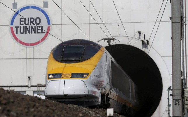 """A high-speed Eurostar train exits the Channel Tunnel in Coquelles, near Calais, France in this May 5, 2014 file photo. Channel Tunnel operator Eurotunnel is expected to report H1 results this week. REUTERS/Christian Hartmann/Files GLOBAL BUSINESS WEEK AHEAD PACKAGE - SEARCH """"BUSINESS WEEK AHEAD JULY 20"""" FOR ALL IMAGES"""