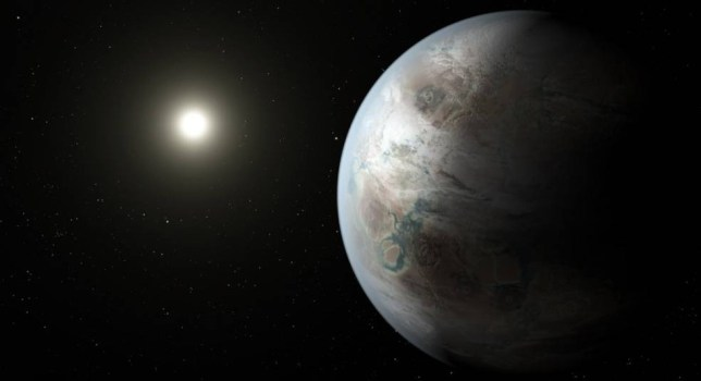 Credits: NASA/JPL-Caltech/T. Pyle  Mandatory Credit: Photo by REX Shutterstock (4914338a)  This artist's concept depicts one possible appearance of the planet Kepler-452b, the first near-Earth-size world to be found in the habitable zone of star that is similar to our sun.  NASA?s Kepler Mission Discovers Bigger, Older Cousin to Earth - 20 Jul 2015
