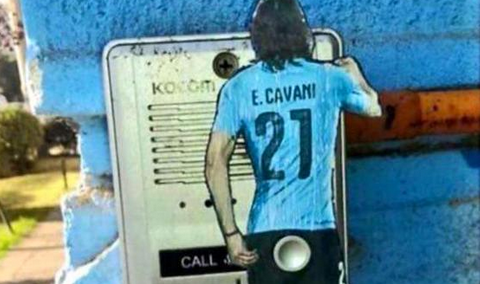 Edinson Cavani and Gonzalo Jara's Copa America bum-poking incident immortalised by doorbell artist