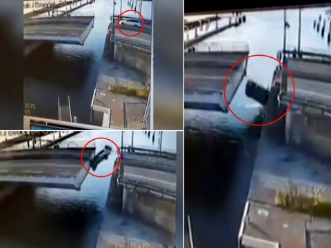 This guy tried to launch his car over a retracting bridge… and failed miserably