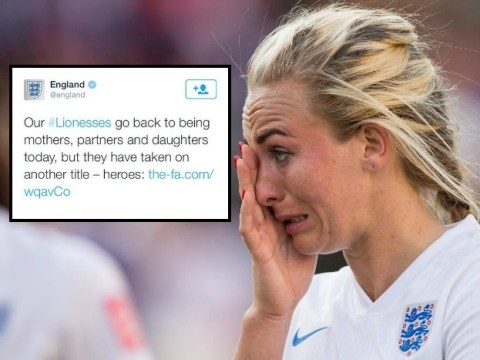 England's official Twitter account posts sexist and patronising message after Women's World Cup 2015