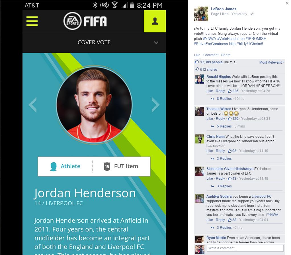 Lebron James joins the campaign to get Liverpool's Jordan Henderson on the cover of FIFA 16