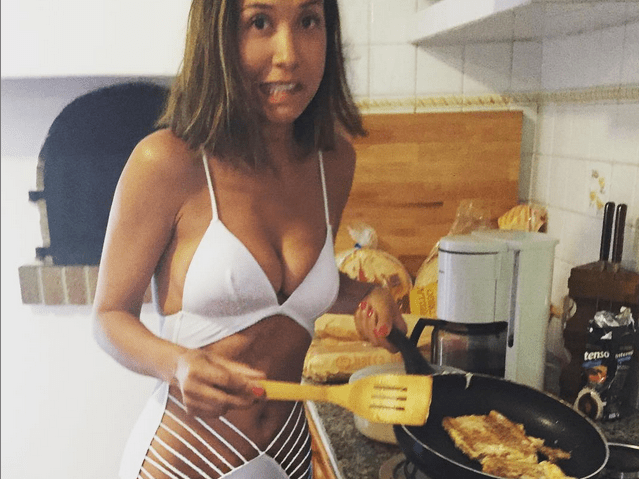 Myleene Klass is a health & safety horror show as she makes a fry-up in a cut-out swimsuit