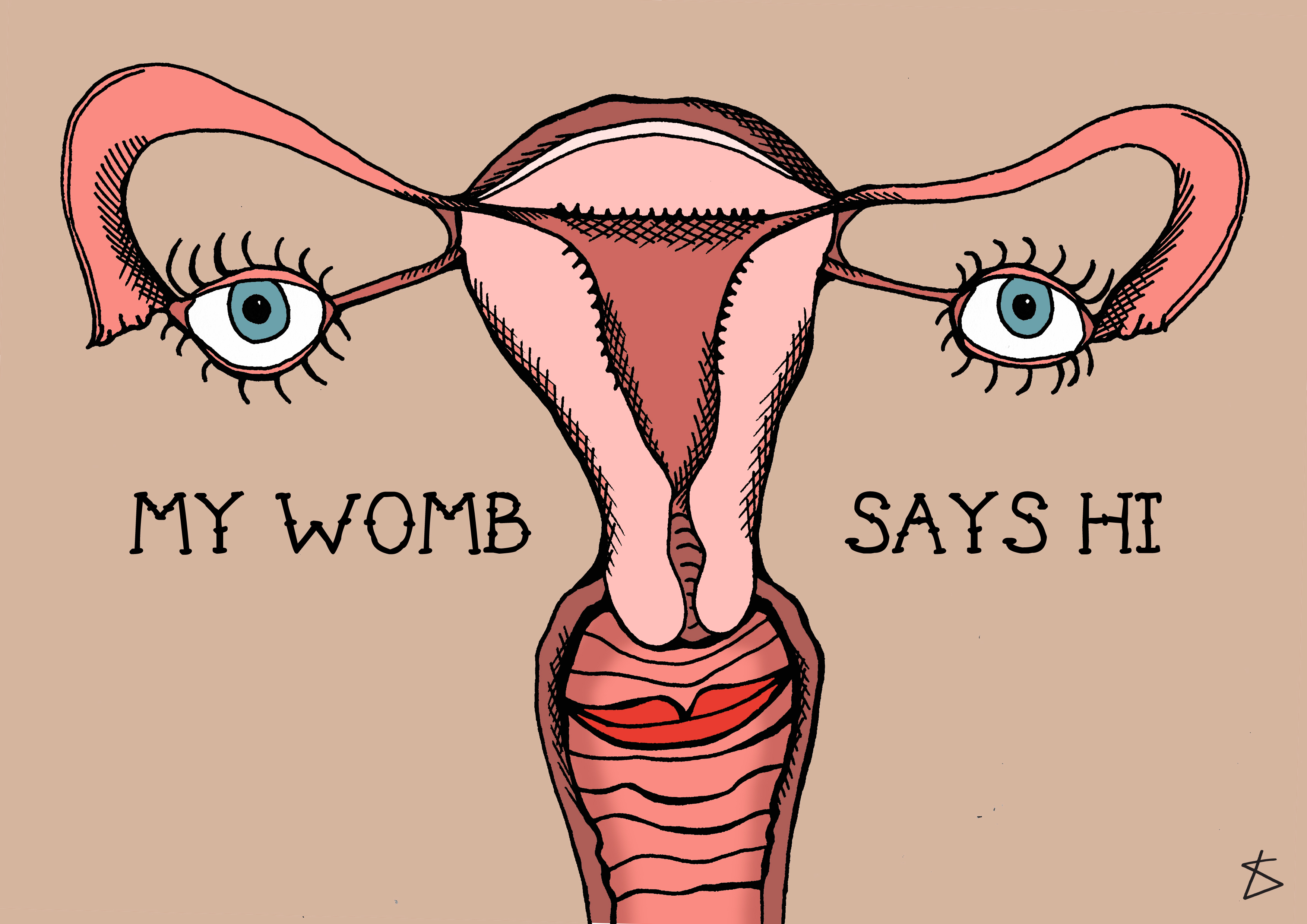 Illustration for period blog Piece by Yvette Caster - Title 'My Womb Says Hi' Credit: Illustration by Liberty Antonia Sadler