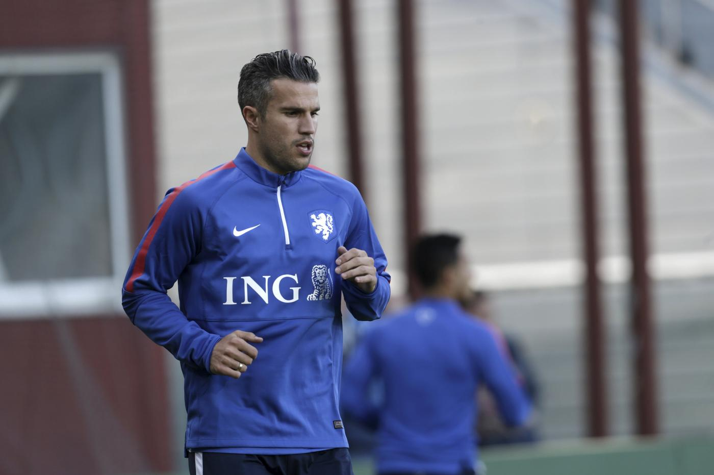Netherlands' soccer team player van Persie attends a training session in Riga Ints Kalnins/Reuters