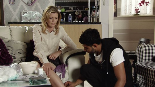 FROM ITV STRICT EMBARGO -TV Listings Magazines & websites Tuesday 4 August 2015, Newspapers Saturday 8 August 2015 Coronation Street - Ep 8705 Monday 10 August 2015 - 2nd Ep When Zeedan Nazir [QASIM AKTAR] questions Leanne Tilsley [JANE DANSON] about the cut on her leg, she lies and tells him that she walked into the dishwasher door.  Picture contact: david.crook@itv.com on 0161 952 6214 This photograph is (C) ITV Plc and can only be reproduced for editorial purposes directly in connection with the programme or event mentioned above, or ITV plc. Once made available by ITV plc Picture Desk, this photograph can be reproduced once only up until the transmission [TX] date and no reproduction fee will be charged. Any subsequent usage may incur a fee. This photograph must not be manipulated [excluding basic cropping] in a manner which alters the visual appearance of the person photographed deemed detrimental or inappropriate by ITV plc Picture Desk. This photograph must not be syndicated to any other company, publication or website, or permanently archived, without the express written permission of ITV Plc Picture Desk. Full Terms and conditions are available on the website www.itvpictures.com