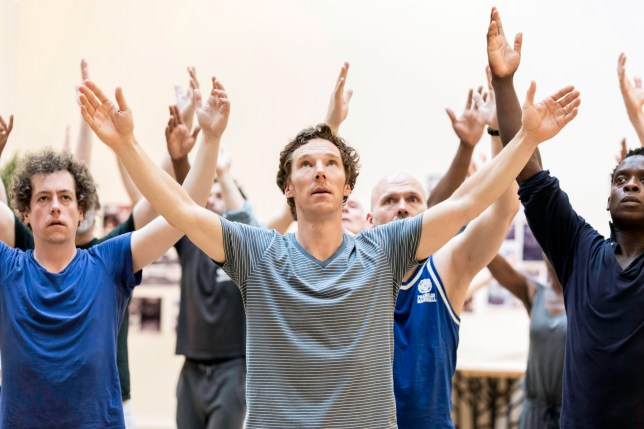 Undated handout photo issued by Premier Comms of Benedict Cumberbatch with the cast of Hamlet in rehearsal before the opening night at the Barbican Centre, London, tonight. PRESS ASSOCIATION Photo. Issue date: Wednesday August 5, 2015. Photo credit should read: Johan Persson/Premier Comms/PA Wire NOTE TO EDITORS: This handout photo may only be used in for editorial reporting purposes for the contemporaneous illustration of events, things or the people in the image or facts mentioned in the caption. Reuse of the picture may require further permission from the copyright holder.