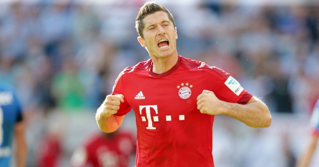 Mandatory Credit: Photo by Action Press/REX Shutterstock (4989929ay) Torjubel zum 2-1 Siegtreffer fuer BAyern Muenchen durch Robert LEWANDOWSKI (9, FC Bayern Muenchen) unten 1. Bundesliga: 1899 Hoffenheim - FC Bayern Muenchen, 2. Spieltag am Foto: M. Deines / PROMEDIAFOTO beim Spiel zwischen 1899 Hoffenheim and dem FC Bayern M¸nchen am 2.Spieltag in der Bundesliga in Sinsheim / 220815 ***Bundesliga match between 1899 Hoffenheim and Bayern Munich on August 22, 2015 in Sinsheim, Germany.*** 1899 Hoffenheim v Bayern Munich, Bundesliga football match, Rhein-Neckar Arena, Sinsheim, Germany - 22 Aug 2015
