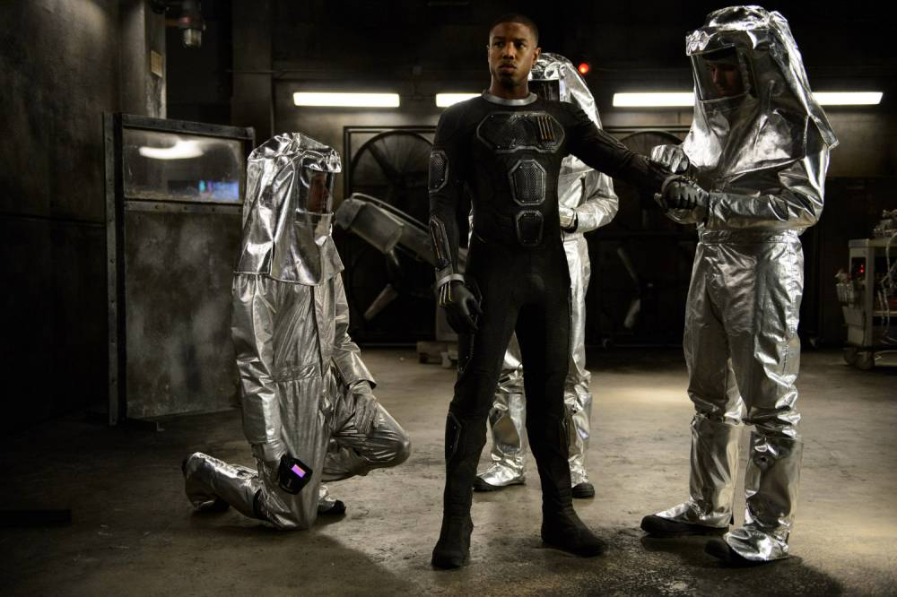 "This photo provided by Twentieth Century Fox shows, Michael B. Jordan as Johnny Storm, in a scene from the film, ""Fantastic Four,"" releasing in U.S. theaters on Aug. 7, 2015. (Ben Rothstein/Twentieth Century Fox via AP)"