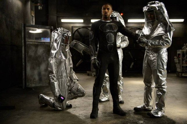 """This photo provided by Twentieth Century Fox shows, Michael B. Jordan as Johnny Storm, in a scene from the film, """"Fantastic Four,"""" releasing in U.S. theaters on Aug. 7, 2015. (Ben Rothstein/Twentieth Century Fox via AP)"""