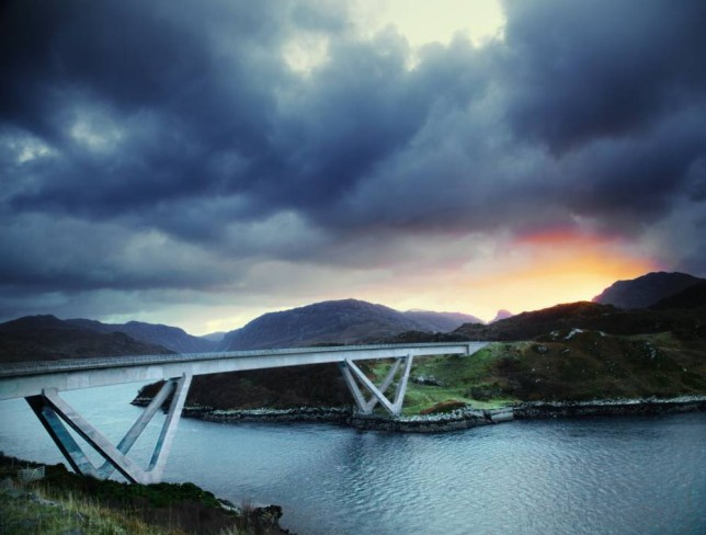 Minimum usage fee is £35.. Mandatory Credit: Photo by Cultura/REX Shutterstock (4793246a).. Dramatic sky and Kylesku Bridge, Kylesku, North West Highlands, Scotland, UK.. VARIOUS.. ..