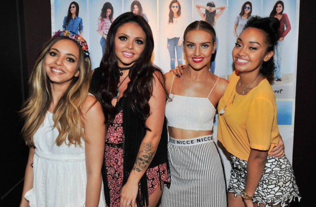 SAN DIEGO, CA - AUGUST 06: (L-R) Jade Thirlwall, Jesy Nelson, Perrie Edwards and Leigh-Anne Pinnock of Little Mix at Hollister Co. on August 6, 2015 in San Diego, California. (Photo by Jerod Harris/Getty Images)
