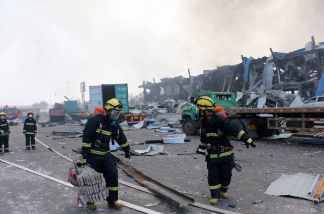 Mandatory Credit: Photo by Xinhua/REX Shutterstock (4953881a) Firefighters at scene of explosion Warehouse fire in Tianjin, China - 13 Aug 2015 China's Tianjin port, where multiple explosions late Wednesday (12 August 2015) killed at least 44 people and injured hundreds, is the biggest port in the northern part of the country, handling shipments of metal ore, coal, automobiles and crude oil.