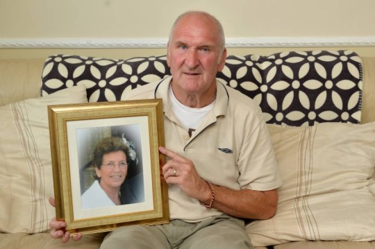"""Pictured - Frank Blades with a photo of late wife Violet. See Ross Parry copy RPYFINE. A grieving widower has hit out after being slapped with a #160 charge - for standing for too long at his wife's grave after her burial. Heartbroken Frank Blades had not felt ready to leave the graveside of his wife, Violet, who had passed away suddenly just months after being diagnosed with cancer. The pensioner was told there was """"no rush"""" to leave Hannah Park Cemetery in Worksop, Notts., and spent just 20 minutes at the cemetery after the burial. But when Frank received the bill for his late wife's funeral from Hopkinsonís Funeral Directors, he was shocked to notice a hefty #160 charge on top of his #6,000 burial fee."""