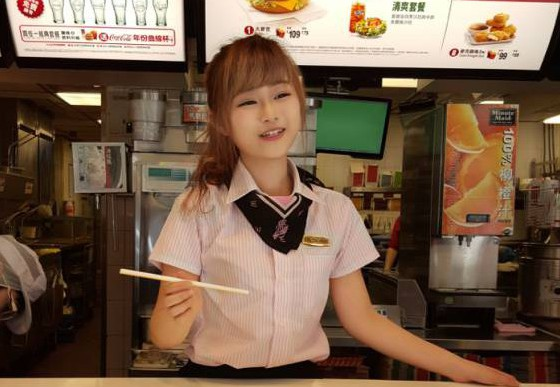 Is this McDonald's most attractive worker - or the weirdest? Fans flock to fast-food chain in Taiwan just to see 'goddess' waitress with doll-like features... who some claim isn't even real Blogger RainDog captured photos of the 'McDonald's goddess' in Taiwan Credit: RainDog