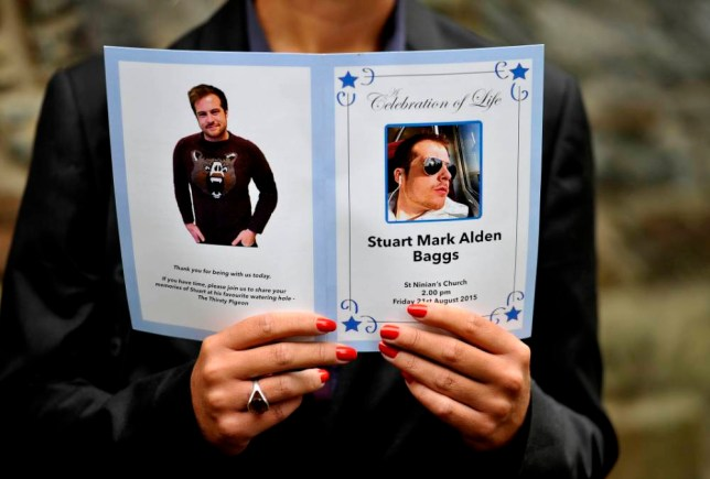 "The order of service of former Apprentice star Stuart Baggs, who died of an asthma attack at the age of 27, last month, during his funeral at St Ninians Church, Douglas, on the Isle of Man. PRESS ASSOCIATION Photo. Picture date: Friday August 21, 2015. Baggs found fame as The Apprentice's youngest ever candidate after appearing on the BBC One show in 2010 at the age of 21. Whilst on the show he came out with strings of memorable one-liners such as ""everything I touch turns to sold"" and ""I'm not a one-trick pony ... I'm a whole field of ponies"". See PA story FUNERAL Baggs. Photo credit should read: Nick Ansell/PA Wire"