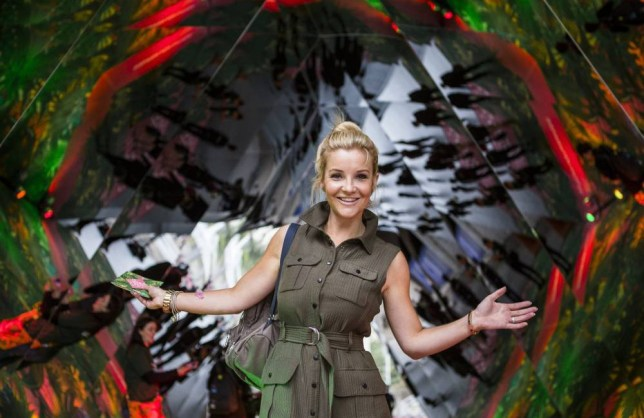 LONDON, UNITED KINGDOM - AUGUST 27: In this handout image supplied by Spark Your City TV Presenter Helen Skelton, interacts with visitors at the 'Spark Your City Urban Jungle' giant interactive kaleidoscope that has been installed between Waterloo station and London's Southbank on August 27, 2015 in London, England. (Photo by Chris Lee via Getty Images)