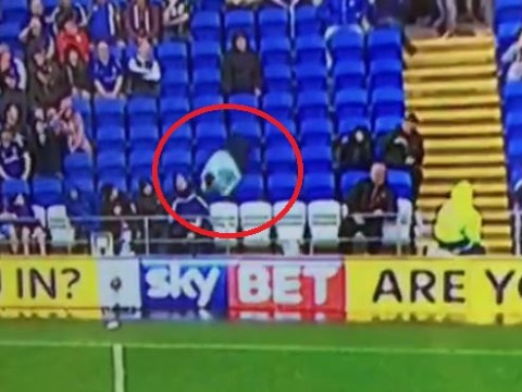 Cardiff fan tries to head ball during Wolves match, misses and falls into next row