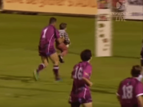 Lost four-year-old scores the cutest try of all time in Australian rugby league legends match