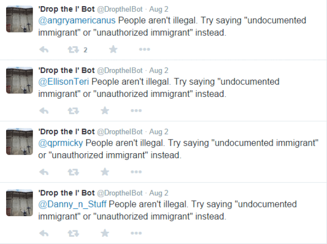 The bot is sick of the way immigrants are dehumanised (Picture: Twitter)
