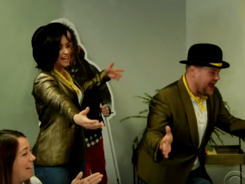 Demi Lovato and James Corden serenade unsuspecting office workers with musical telegrams