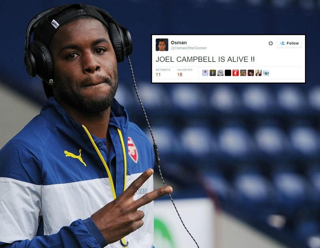 Joel Campbell named on bench for Newcastle v Arsenal, fans celebrate that he's still alive