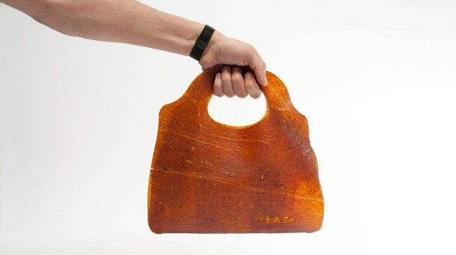 leather bag made of rotting fruit