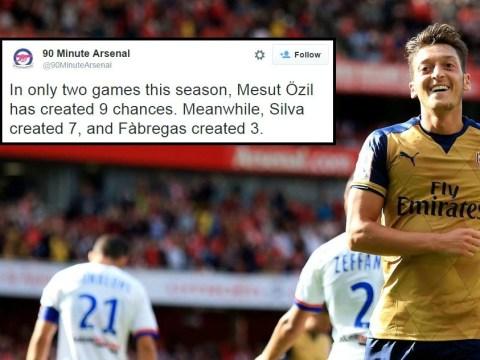 Arsenal's Mesut Ozil has created three times as many chances as Chelsea's Cesc Fabregas this season