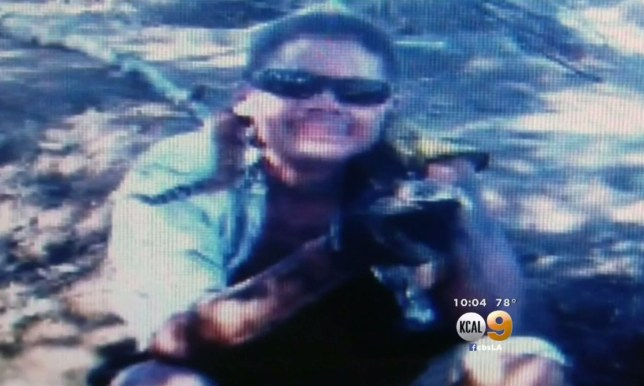 Alex posing for the selfie moments before being bitten (KCAL9)