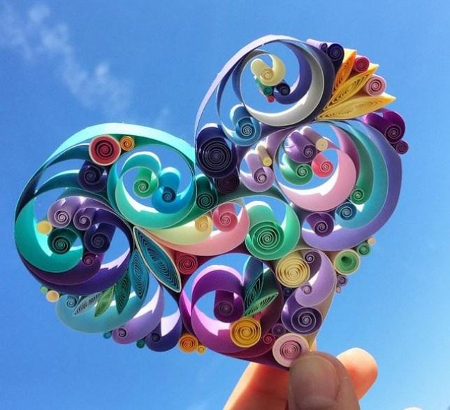 sena runa paper art heart in the sky