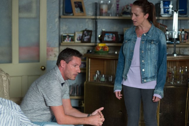 WARNING: Embargoed for publication until 00:00:01 on 15/09/2015 - Programme Name: EastEnders - TX: 25/09/2015 - Episode: 5144 (No. n/a) - Picture Shows: ***FORTNIGHTLIES PLEASE DO NOT USE (SOAP LIFE AND ALL ABOUT SOAP) Robbie tells Sonia the full story. Robbie Jackson (DEAN GAFFNEY), Sonia Fowler (NATALIE CASSIDY) - (C) BBC - Photographer: Jack Barnes