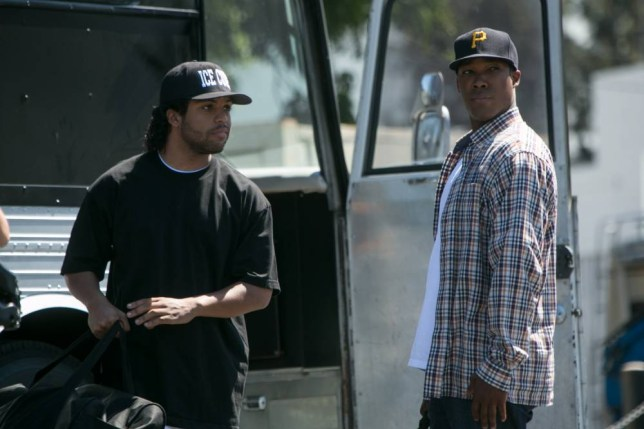 """This photo provided by Universal Pictures shows, OíShea Jackson, Jr., left, as Ice Cube and Corey Hawkins as Dr. Dre, in the film, ìStraight Outta Compton."""" (Jaimie Trueblood/Universal Pictures via AP)"""