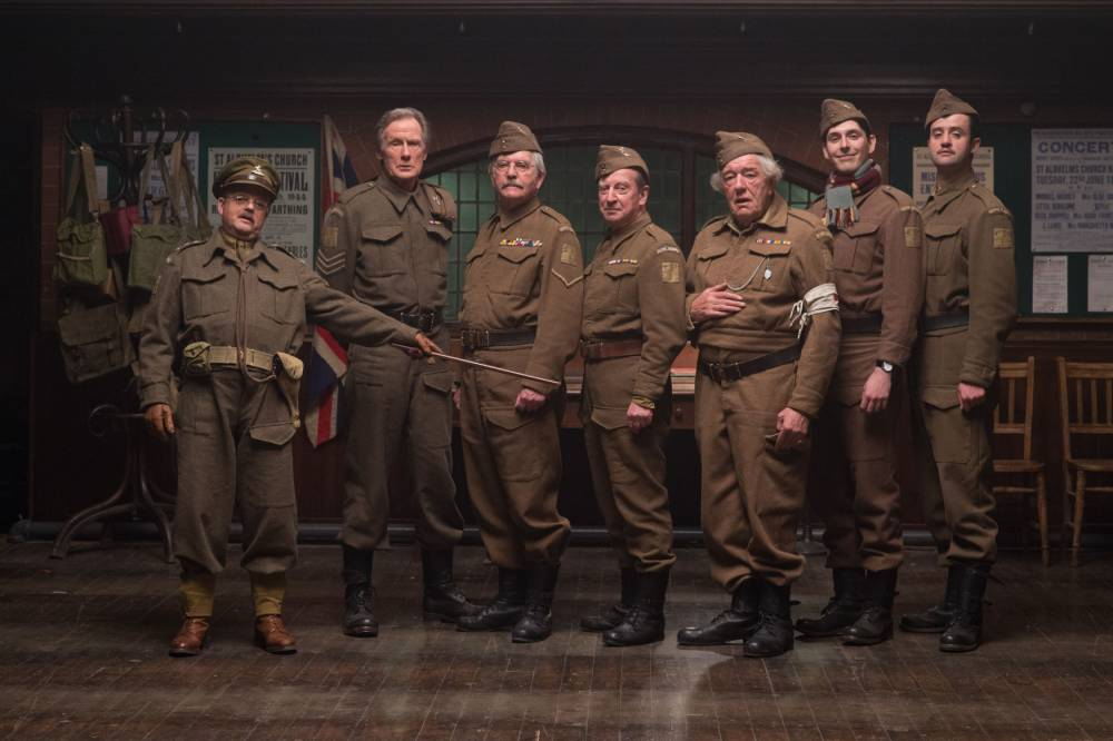 EDITORIAL USE ONLY Undated handout photo issued by Universal Pictures of the cast of the new Dad's Army film (from the left) Toby Jones as Captain Mainwaring, Bill Nighy as Wilson, Tom Courtenay as Corporal Jones, Bill Paterson as Fraser, Michael Gambon as Godfrey, Blake Harrison as Pike and Danny Mays as Walker. PRESS ASSOCIATION Photo. Issue date: Tuesday September 1, 2015. The feature film based on the much-loved iconic British comedy will be released in cinemas on February 5th 2016. Photo credit should read: Alex Bailey/Universal Pictures/PA Wire NOTE TO EDITORS: This handout photo may only be used in for editorial reporting purposes for the contemporaneous illustration of events, things or the people in the image or facts mentioned in the caption. Reuse of the picture may require further permission from the copyright holder.