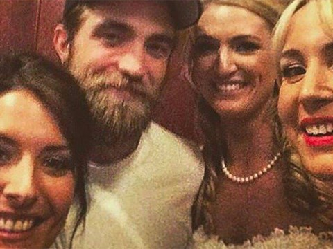 Robert Pattinson and his new fuzzy beard drop in on couple's wedding day