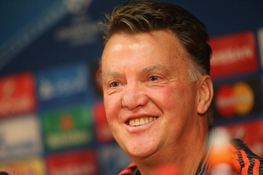 BRUGGE, BELGIUM - AUGUST 25: Manager Louis van Gaal of Manchester United speaks during a press conference, ahead of their UEFA Champions League play-off second leg match against Club Brugge, at Jan Breydel Stadium on August 25, 2015 in Brugge, Belgium. (Photo by John Peters/Man Utd via Getty Images)