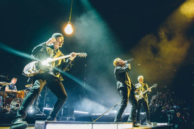 "Handout photo of (left to right) Larry Mullen Jr, The Edge, Bono and Adam Clayton on stage during the U2 concert at Turin's Pala Alpitour Arena as the band kicks off their European leg of their Innocence and Experience tour. PRESS ASSOCIATION Photo. Issue date: Saturday September 5, 2015. Bono drew attention to the plight of refugees during the concert. The frontman and activist said he did not have the answers to the refugee crisis but added that we ""must work together"" to find the solution. See PA story SHOWBIZ U2. Photo credit should read: Danny North/U2/PA Wire NOTE TO EDITORS: This handout photo may only be used in for editorial reporting purposes for the contemporaneous illustration of events, things or the people in the image or facts mentioned in the caption. Reuse of the picture may require further permission from the copyright holder."