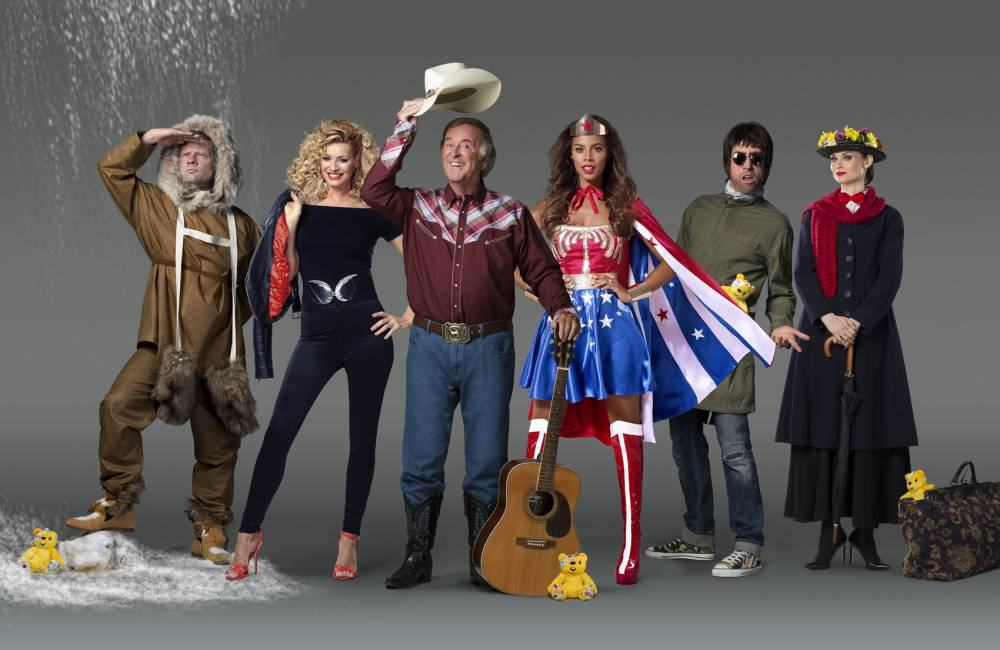 Celebrities dress as their childhood heroes to support the launch of BBC Children in Need 2015. This year the charity is asking people to dress up as their heroes to help fundraise. From left to right: Dermot O'Leary as Ernest Shackleton, Tess Daly as Oliva Newton-John's Sandy, Sir Terry Wogan as Gene Autry, Rochelle Humes as Wonder Woman, Nick Grimshaw as Liam Gallagher & Sophie Ellis-Bextor as Julie Andrew's in Mary Poppins.