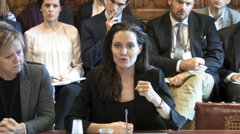 U.N.H.C.R. Special Envoy Angelina Jolie Pitt gives evidence to the House of Lords ad hoc Committee considering the UK's policy and practice of preventing sexual violence in conflict, in the Houses of Parliament in Westminster, London, in this image taken from a September 8, 2015 handout video by Parliament TV. REUTERS/Parliament TV/Handout via ReutersATTENTION EDITORS - FOR EDITORIAL USE ONLY. NOT FOR SALE FOR MARKETING OR ADVERTISING CAMPAIGNS. THIS IMAGE HAS BEEN SUPPLIED BY A THIRD PARTY. IT IS DISTRIBUTED, EXACTLY AS RECEIVED BY REUTERS, AS A SERVICE TO CLIENTS. NO ARCHIVES. NO SALES.