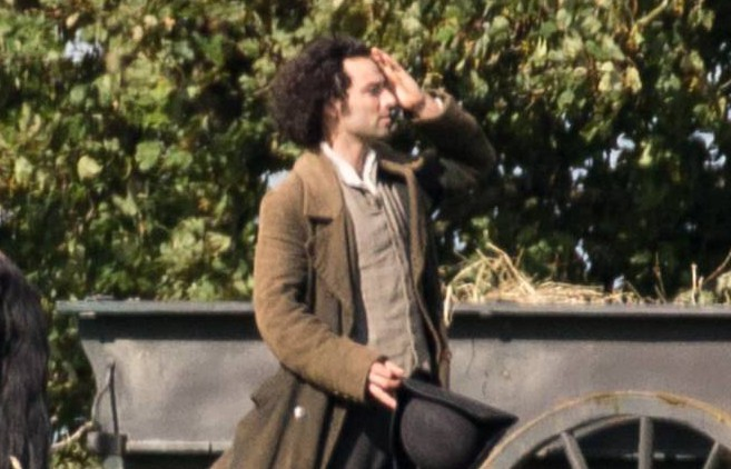 EXCLUSIVE: Aidan Turner who plays the character Ross Poldark was on set today in cornwall. He was filming the new season of the BBC period drama Poldark. Aidan is pictured during takes with his a black horse and cart full of straw. <P> Pictured: Aidan Turner <B>Ref: SPL1101668 080915 EXCLUSIVE</B><BR /> Picture by: Andy Casey / Splash News<BR /> </P><P> <B>Splash News and Pictures</B><BR /> Los Angeles: 310-821-2666<BR /> New York: 212-619-2666<BR /> London: 870-934-2666<BR /> photodesk@splashnews.com<BR /> </P>