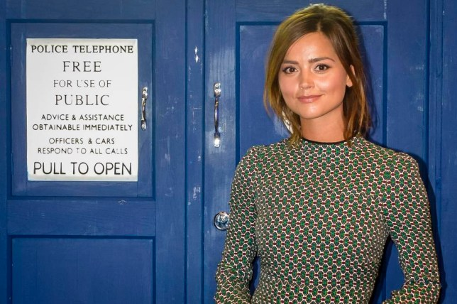 Actress Jenna Coleman, who plays Clara Oswald in Doctor Who, next to the TARDIS at Cineworld in Cardiff, where episodes for the new Dr Who series are being screened. PRESS ASSOCIATION Photo. Picture date: Thursday September, 10, 2015. Photo credit should read: Ben Birchall/PA Wire