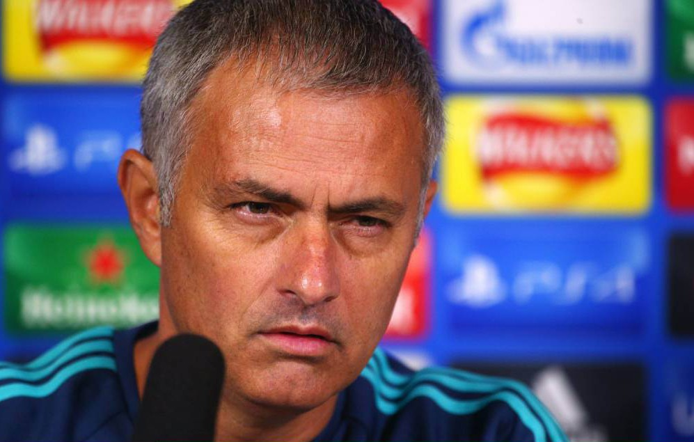 COBHAM, ENGLAND - SEPTEMBER 15: Chelsea manager Jose Mourinho chats to the media during a Chelsea Press Conference ahead of their Champions League fixture against Maccabi Tel Aviv on September 15, 2015 in Cobham, England. (Photo by Charlie Crowhurst/Getty Images)