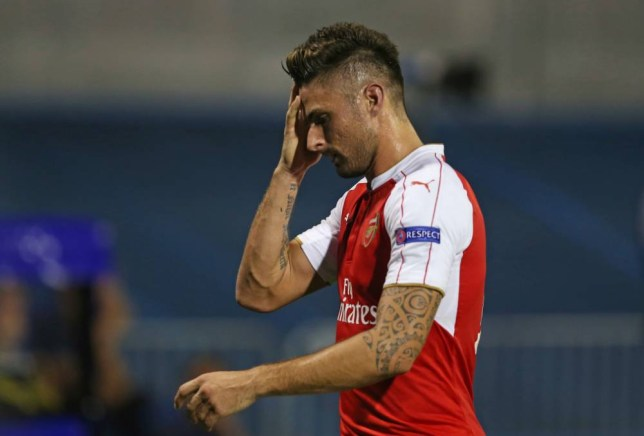 Football - Dinamo Zagreb v Arsenal - UEFA Champions League Group Stage - Group F - Maksimir Stadium, Zagreb, Croatia - 16/9/15 Arsenal's Olivier Giroud looks dejected after being sent off Action Images via Reuters / Matthew Childs Livepic EDITORIAL USE ONLY.
