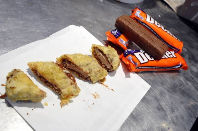 Parc Lane chip shop, Queen Street, Cardiff. Kalhan Rosenblatt tried out their new product a deep fried battered Cadbury double Decker chocolate bar. This new Cardiff delicacy costs £1.